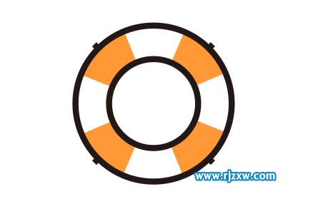 第1步:点击椭圆形工具,绘制二个同心圆.以下如图所示