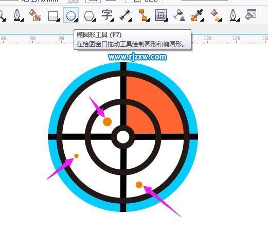 第12步:然后使用椭圆工具,绘制三个圆点.然后填充橙色.
