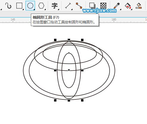 cdrx8制作丰田汽车标志的方法