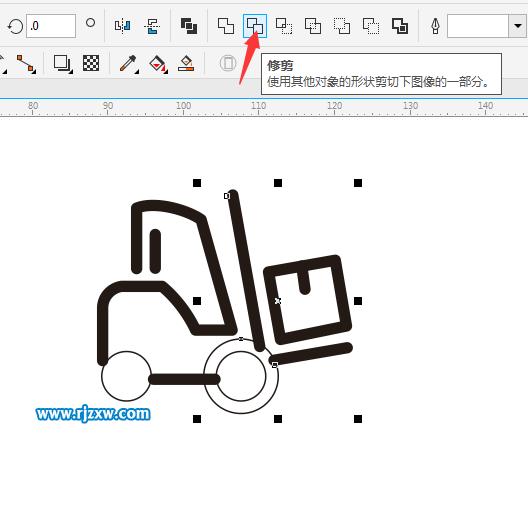 CDR绘制叉车简笔画教程