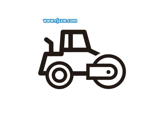 Coreldraw软件绘制压土机简笔画教程