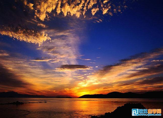 ps制作海景mm人物写真加上绚丽的晚霞效果