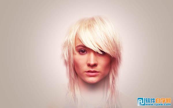 ps制作人物图片加上紫红色潮流背景效果