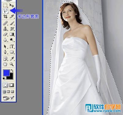 1,打开原图素材,用钢笔或套索工具随意在婚纱范围圈选.