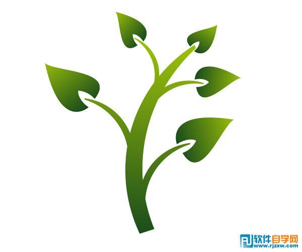 coreldrawx6制作绿色小树枝图标教程图片