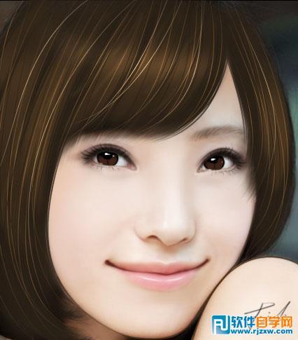 PS把美女头像制作精细的仿手绘效果_软件自学网