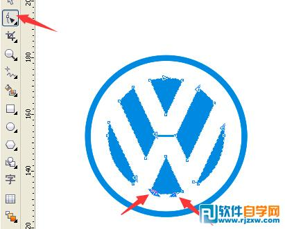 Coreldraw绘制大众汽车标志