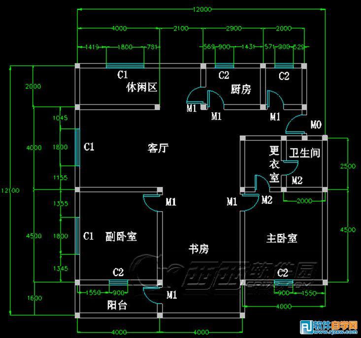 教你怎么用CAD绘制室内平面图_软件自学网