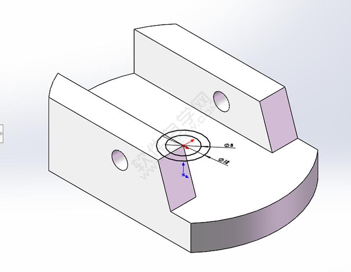 solidworks给零件开半圆糟口的方法_软件自学网