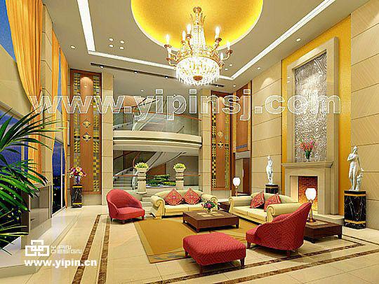 别墅客厅样板房室内设计效果图_软件自学网