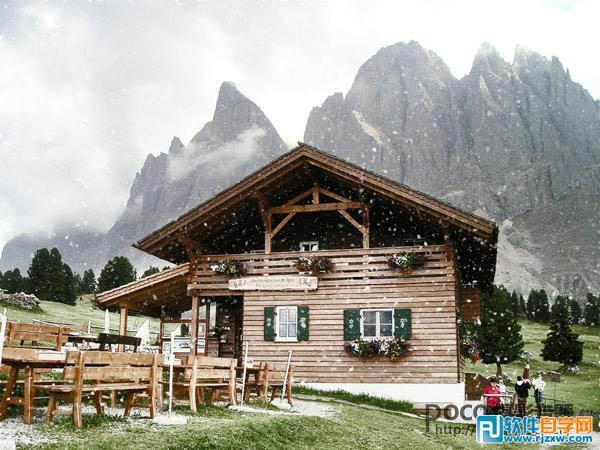 给风景图片增加冬季飘雪效果