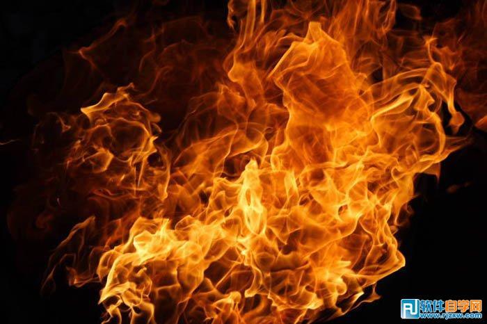 将火焰的素材导入,图层混合模式改成滤色.