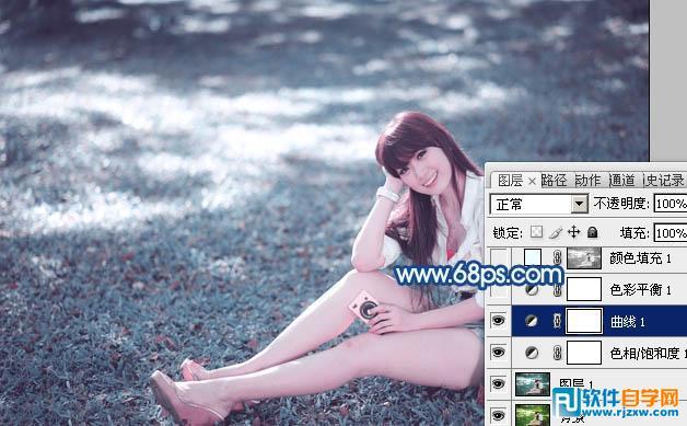 ps打造唯美的青蓝色草地美女图片