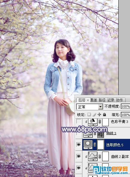 给春季花木下美女加上梦幻粉紫色 ps教程 2 - 软件