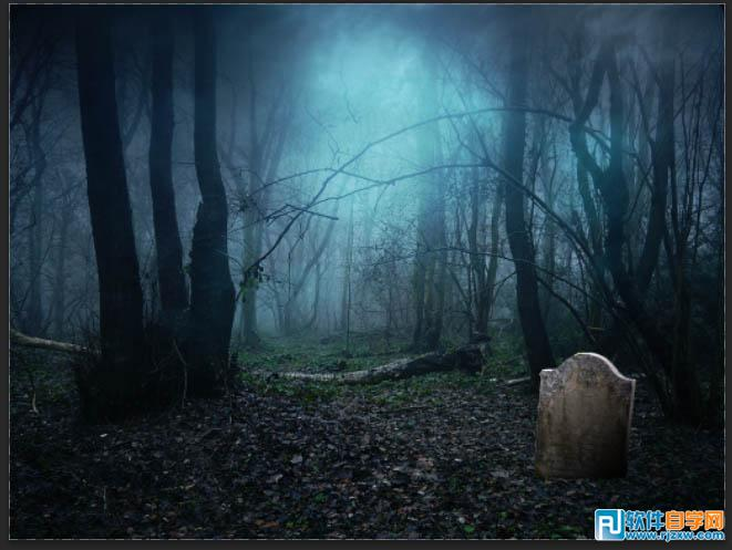 ps合成恐怖昏暗的森林场景