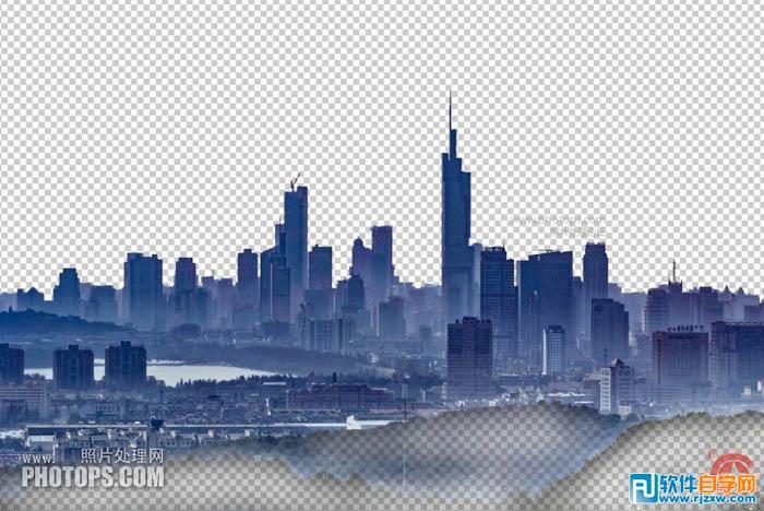 ps把雾霾城市图片转为高清风景大片