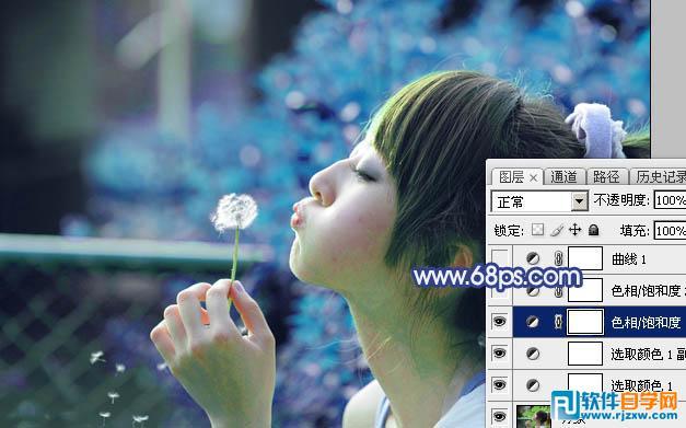 ps打造唯美的粉调青蓝色外景美女图片_软件自学网