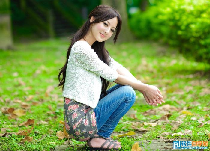 photoshop制作绿荫中美女的唯美春季淡绿色_软件自学网