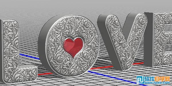 photoshopcs5制作love浮雕花纹立体字