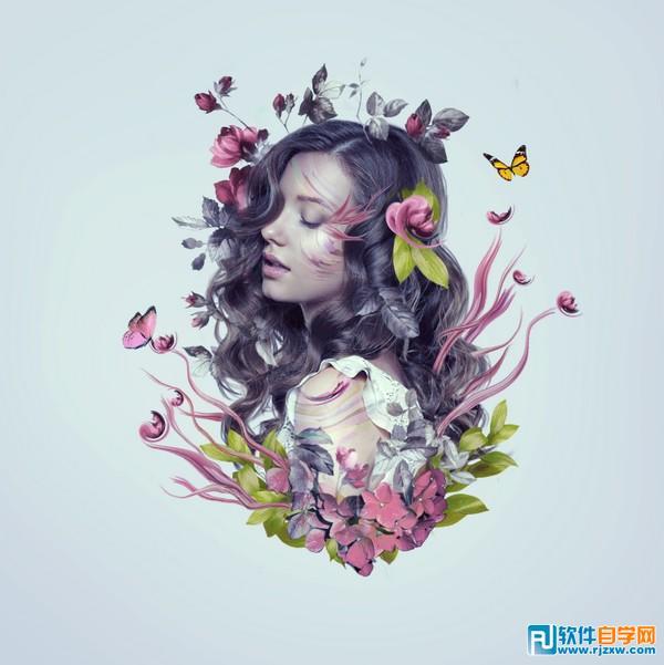 用photoshop设计非常漂亮的花纹人像海报