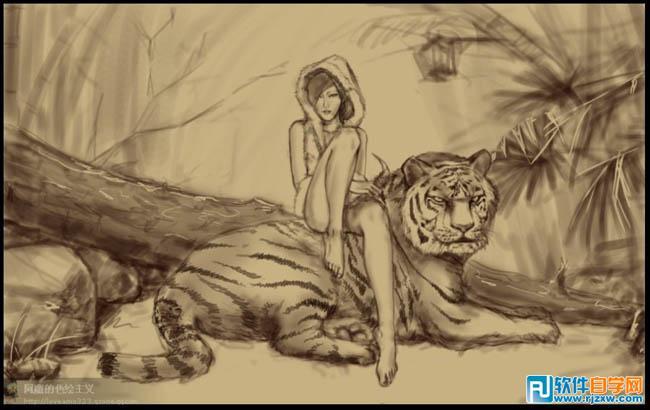 ps手绘美女与虎