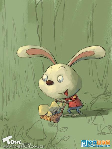 手绘萌小兔子