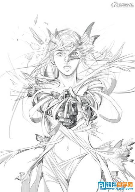 带翅膀的少女手绘