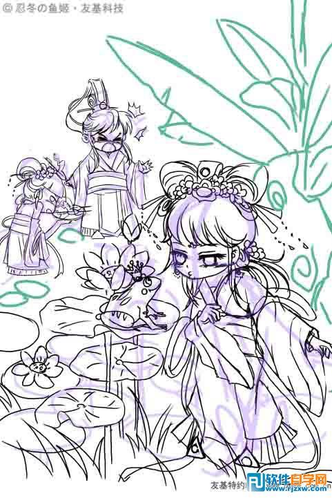 小清新水粉画星空教程-先来绘制小公主.头发,可爱的五官和精致的饰品是一幅画的主要看点