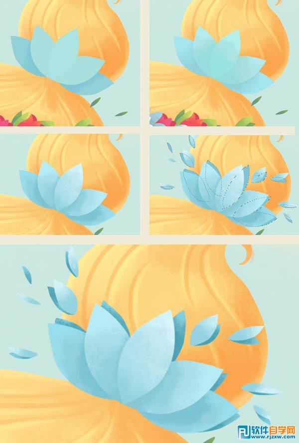 选取画笔工具(b),选取[软油彩蜡笔]笔刷在头发上方的花瓣上添加轻微的