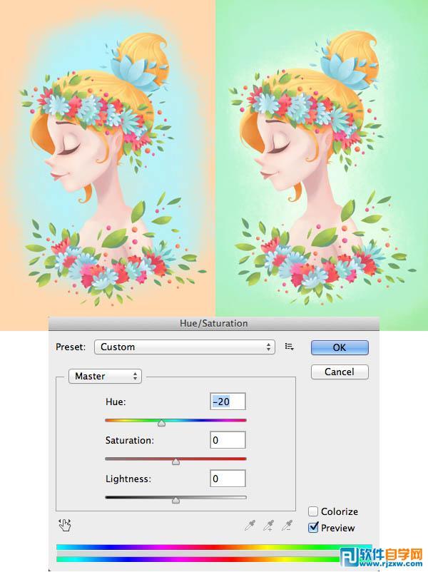 ps手绘漂亮的卡通女孩_软件自学网