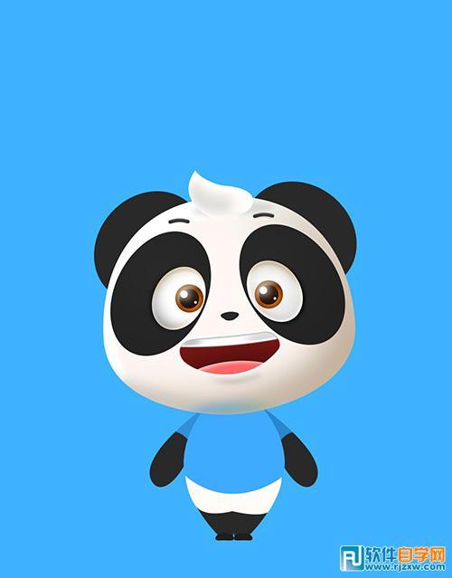 ps手绘卡通熊猫_软件自学网