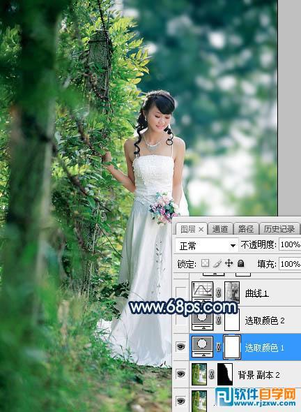 PS给婚片加点唯美的青蓝色逆光_软件自学网