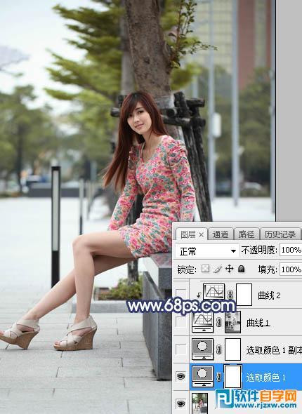 PS给广场上的少女加上暗黄色霞光_软件自学网
