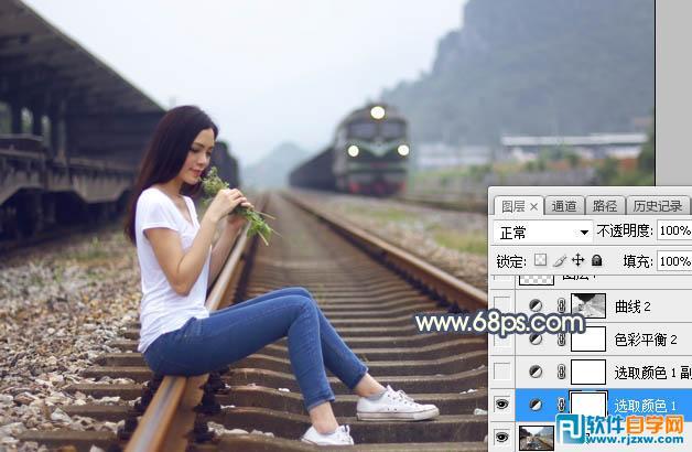 女孩和铁轨图片唯美制作_软件自学网