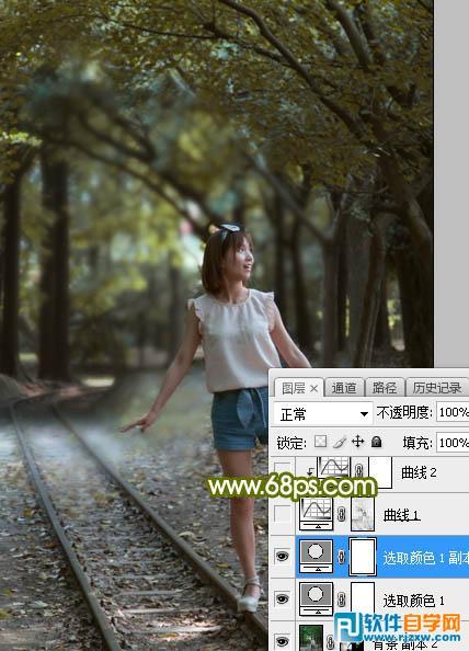 Photoshop魔幻人物暗调黄绿色_软件自学网