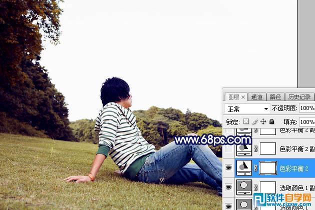 PS给唯美草坪上的人物加些紫色霞光_软件自学网