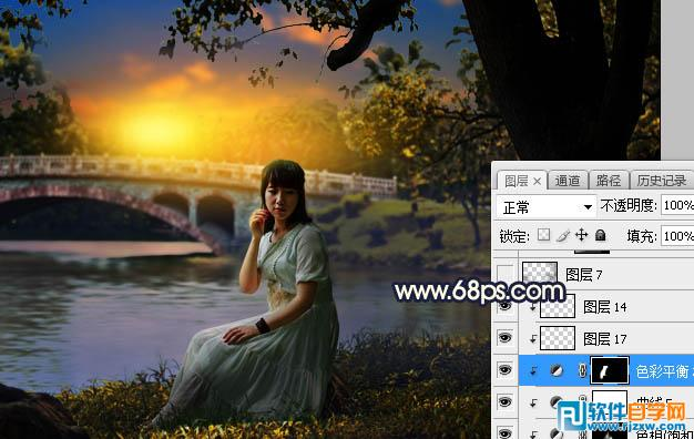 photoshop给河边树下的人物加上唯美的晨曦