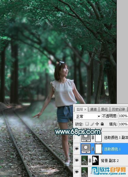PS打造梦幻人物的暗青色逆光效果_软件自学网