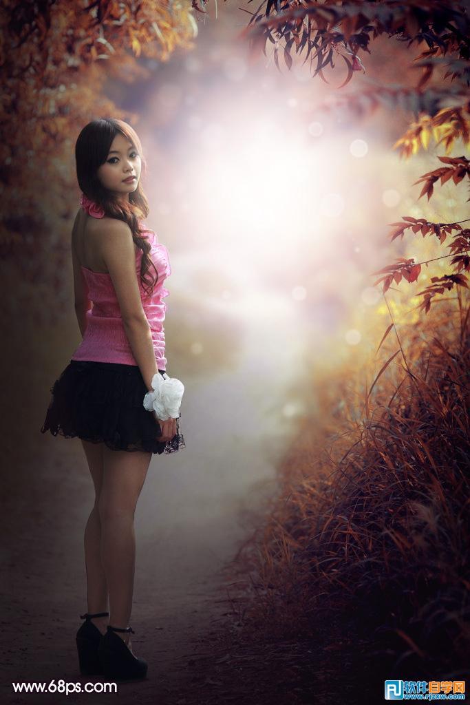 ps打造梦幻的紫色秋季树林图片_软件自学网