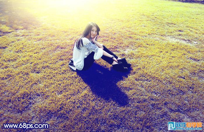 ps打造唯美金色草地的人物图片