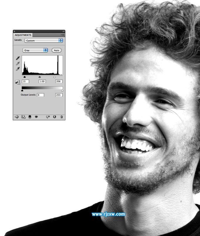 PS制作黑白效果的网纹人像图片_软件自学网