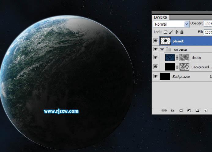 12、将地球图层缩小,调整合适的大小,按Ctrl+ J,复制一个层. 接