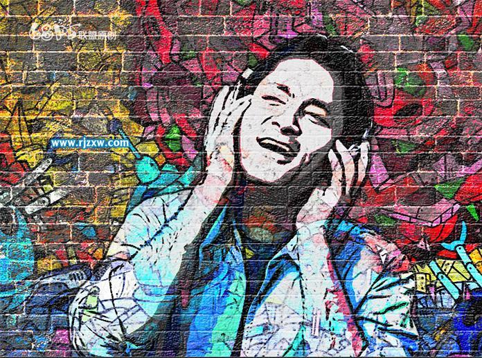 ps设计人物照片涂鸦墙效果