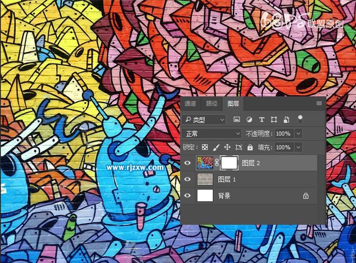 PS设计人物照片涂鸦墙效果_软件自学网