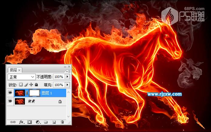 ps火焰马抠出效果教程_软件自学网