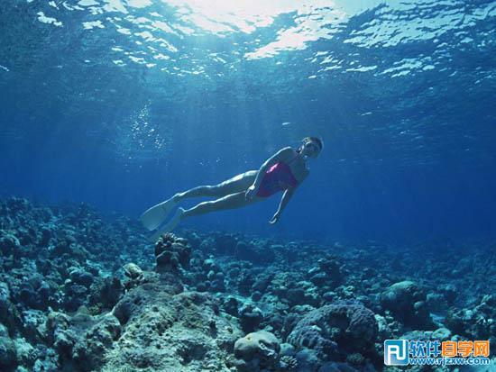 5,打开一张海底的素材图片.