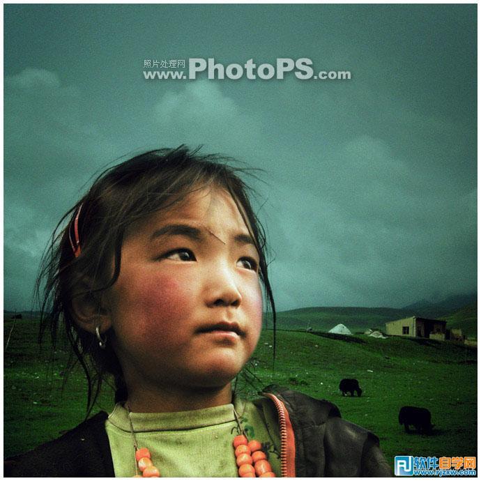 Photoshop打造一张圣洁的高原小女孩照片