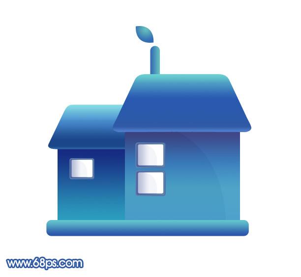 制作一个蓝色水晶房子图标