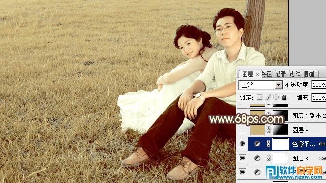 ps调出草地情侣图片纯美的黄褐色_软件自学网