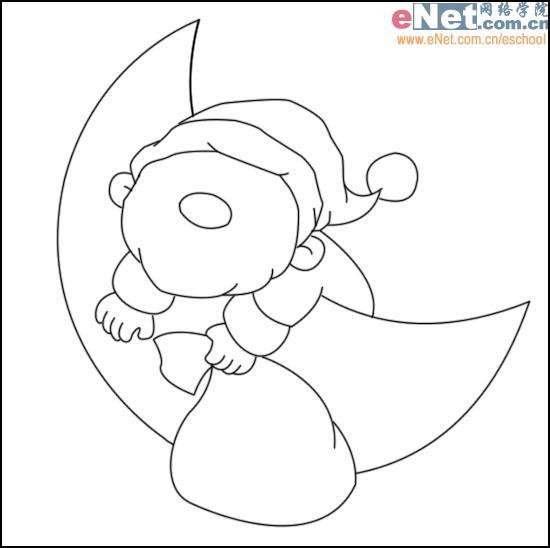 2,根据前面的轮廓线用钢笔勾出月亮与圣诞老人的主要外形,擦除月亮被